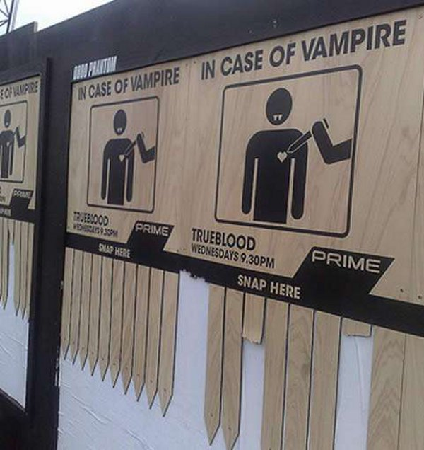 True Blood promotional signs complete with stakes!
